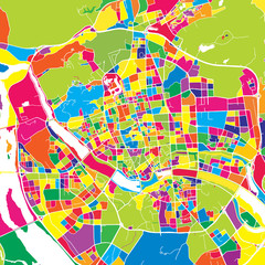 Fuzhou, China, colorful vector map