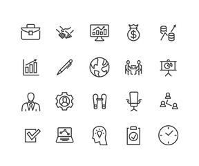 Simple Set of Business Related Vector Line Icons. Contains such Icons as One-on-One Meeting, Business Communication, Team Structure and more. Editable Stroke. 48x48 Pixel Perfect
