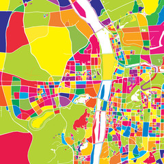 Changsha, China, colorful vector map