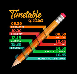Timetable or timeline design template illustration with pencil