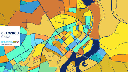 Chaozhou, China, Colorful Vector Artmap