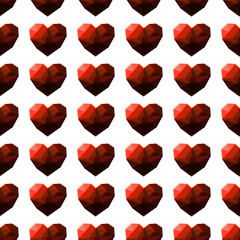 Seamless pattern with faceted red heart