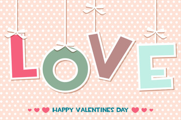 Vector word LOVE, set Happy Valentines day greeting cards