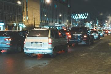 Big traffic jam in the evening.