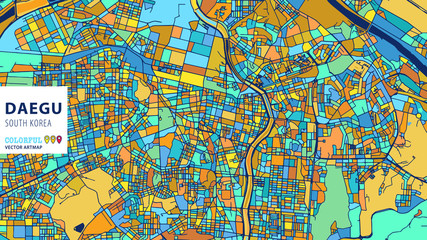 Daegu, Korea, South, Colorful Vector Artmap