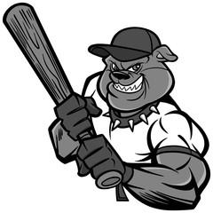 Bulldog Baseball Player Illustration - A vector cartoon illustration of a Bulldog Baseball Player.