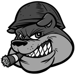 Bulldog Army Mascot Illustration - A vector cartoon illustration of a Bulldog Army Mascot.