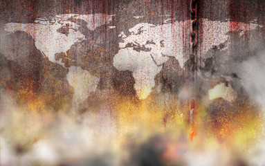 Bloody and white world map background scary old rusty chains hanging on rusted steel wall with fire and smoke, concept of the use of slave labor and holocaust