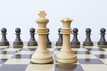 pieces of wood on chessboard
