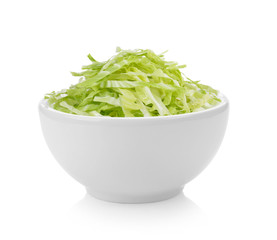 slice cabbage bowl on white background