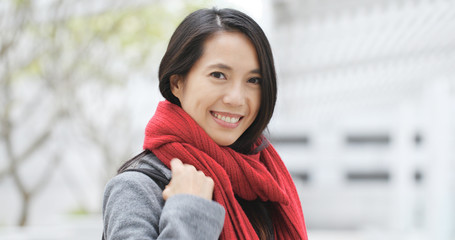 Young asian woman smile to camera