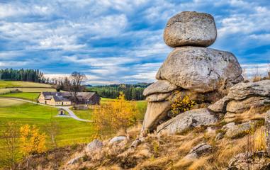 Waldviertel scenery with famous Wackelsteine rocking stones, Lower Austria region, Austria