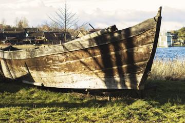 Abandoned old rusted boat, Trakai, Lithuania