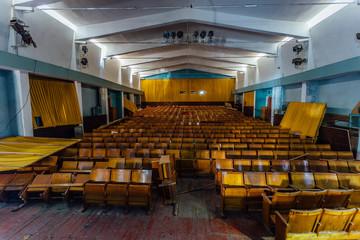 Abandoned auditorium of old soviet cinema house