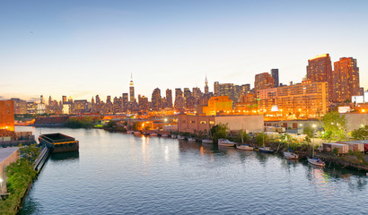 Midtown Manhattan and East River at sunset, New York City