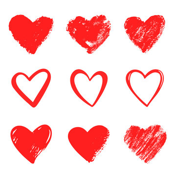 Red vector hand drawn hearts. Design elements for Valentine's Day. February 14