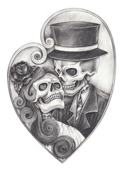 Art in love skull day of the dead. Hand pencil drawing on paper.