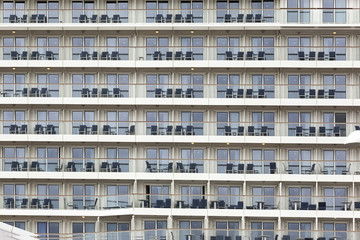 A Big Ship with lots of Windows and Balconies