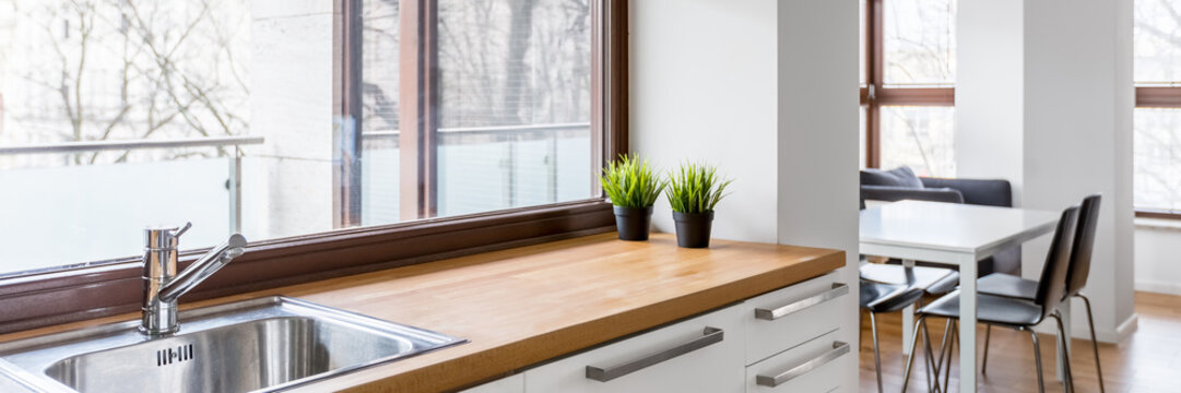Kitchen with wooden countertop