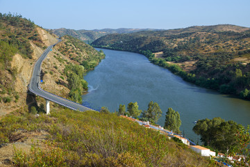 The Guadiana river near Pomarao forms the Portuguese-Spanish border. Beja. Portugal