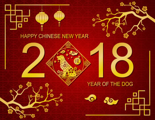 Happy chinese new year 2018 background. Year of the dog