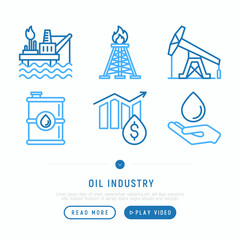 Oil industry thin line icons set: gas, petroleum, diesel, tanker, refinery, barrel. Modern vector illustration, web page template.