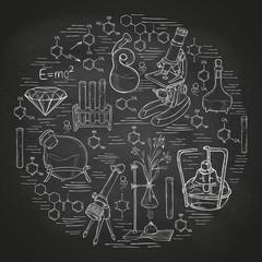 Chemistry lab sketch banner