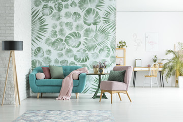 Apartment with floral wallpaper