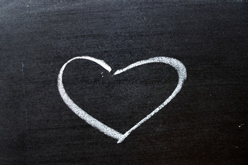White coloe chalk drawing as heart shape on blackboard background with copy space
