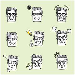 シニア男性:顔、表情、セット