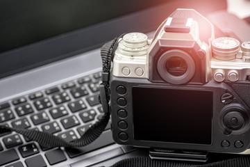 Digital Photography Workstation, Vintage Digital Camera on laptop.