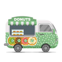 Donat street food caravan trailer. Colorful vector illustration, cute style, isolated on white background