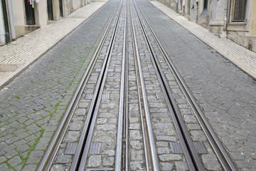 Funicular Tram Tracks, Rua da Bica de Duarte Belo Street; Lisbon