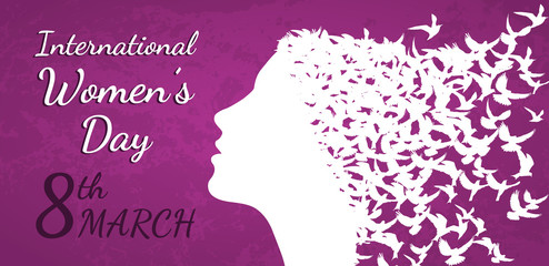 International Women's Day vector illustration with woman profile