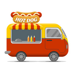 Hot dog street food caravan trailer. Colorful vector illustration, cartoon style, isolated on white background
