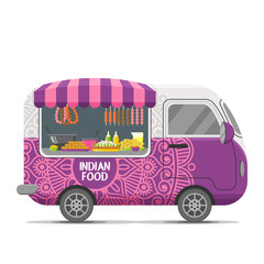 Indian street food caravan trailer. Colorful vector illustration, cartoon style, isolated on white background