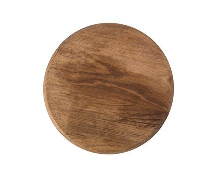 Empty wooden round old kitchen board