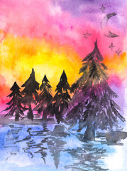 Abstract hand painted watercolor landscape with winter nature. Hand drawn picture on paper. Bright artistic painting.
