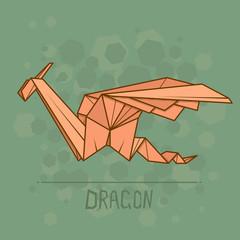 Vector illustration paper origami of dragon.