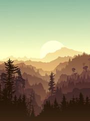 Vertical illustration of twilight in forest hills.