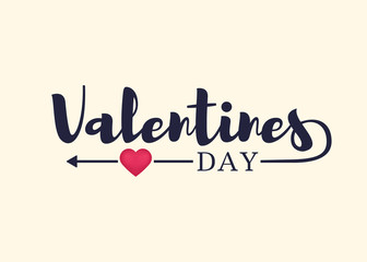 Valentines Day. Greeting card, typography poster with lettering, arrow and hearts. Vector illustration