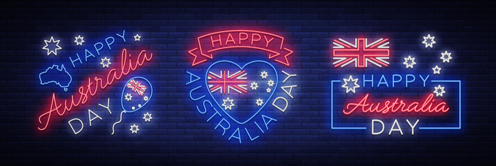 Happy Australia on January 26, a set of festive elements in the neon style. Collection of neon signs, ribbon with national colors. Layout of the template for card, banner, poster, flyer, card. Vector