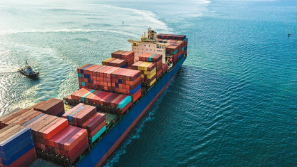 Aerial view cargo ship, Logistics and transportation of International Container Cargo ship in the open sea, Top view of cargo ship. Fototapete