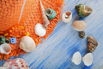 beach accessories glasses hat cockleshells