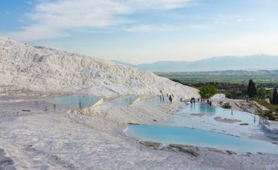 Natural travertine pools and terraces in Pamukkale.