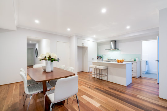 Living and dining area in a modern Australian home.