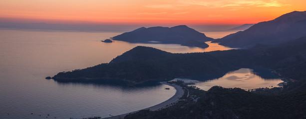 Oludeniz landscape beautiful sunset lagoon in sea view of beach, Turkey.