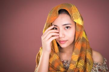 In de dag Aquarel Gezicht Close up face portrait little young asian woman