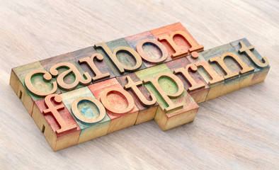 carbon footprint word abstract in wood type