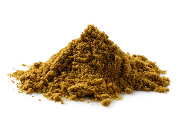 Wall Murals Spices A pile of ground cumin isolated on white.